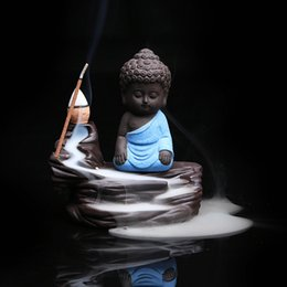 Wholesale Zen Home Decor - Wholesale- Boutique Home Decor Zen Monk Buddha Censer Ceramic Yixing Aroma Backflow Cone Incense Burner Stick Incienso Plate Creative Gift