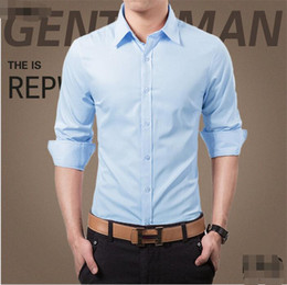 Wholesale Elegant Men S Shirts - Wholesale-High quality customized latest men's shirts elegant fashion pure color groom shirt single-breasted party men long sleeve shirt