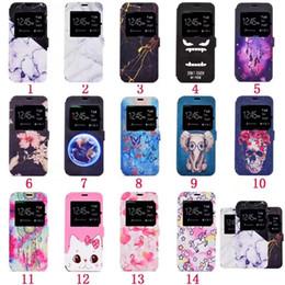 Flip cover open window galaxy en Ligne-Pour iphone 7 iphone7 I7 iphone X fenêtre ouverte flip Marble étui en cuir couverture cas de téléphone portable pour Galaxy Note8 s7 s7edge