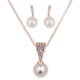 Wholesale indian luxury pearls jewelry - Imitation pearls Bridal Jewelry Sets Fashion Wedding Gift Classic Luxury Crystal Collar Choker Necklace Earring Sets for Women Wholesale