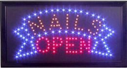 Wholesale Nails Shopping - 2016 hot sale 10x19 Inch Semi-outdoor Nails Beauty Salon Shop signs Led Ultra Bright flashing business sign