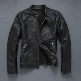 Wholesale men s thin leather jackets - Fall-2016 New Men's black cowskin thin short motorcycle jacket genuine leather jacket chaqueta cuero hombre XS-5XL