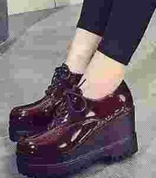 Wholesale Leather Shoes Women England - 2016 New England retro shoes platform shoes waterproof slope HEELS WOMEN shoe lace