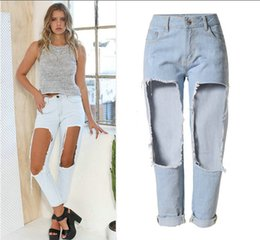 Wholesale High Waisted Tight Pants - 2016 New Arrival high waisted Big hole Pencil Pants jeans Demain trousers Boyfriend Style Big Girl leggings Tight trousers pure cotton Jeans