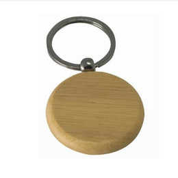 Wholesale Plate Compass - 100X Blank Wooden Key Chain Circle 1.25'' Keychains KW01Y Free shipping