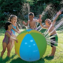 Wholesale Sprinkler Toys - 2017 Large Inflatable Beach Water Ball Outdoor Sprinkler Summer Inflatable Water Spray Balloon Outdoors Play In The Water Beach Ball KKA1473