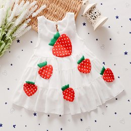 Wholesale Lovely Strawberry - New summer kids clothes princess dress girl lovely strawberry stereo chiffon casual comfort children dresses 4 p l