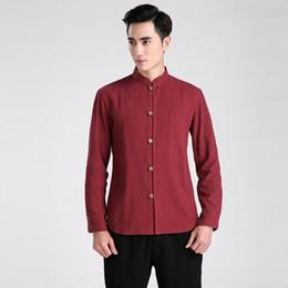 Camisa tradicional china roja online-Historia de Shanghai Chino Tradicional Kung Fu Tops Tang Traje de manga larga Ropa para hombres Camisa de lino Mezcla de algodón / Beige / Azul oscuro / Rojo