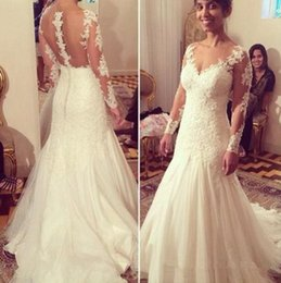 Wholesale Long Skirts Couture - Couture Illusion Long Sleeve Mermaid Wedding Dresses 2018 Sheer Collar Lace Applique See Through Back African Girl Bride Bridal Gowns Cheap