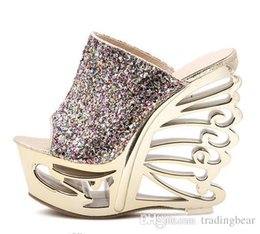 Wholesale Evening Women High Heel Wedges - Free DHL Gorgeous sequins shoes Wedge slippers sandals party Evening shoes 14cm High Heels Sandals nightclub shoes