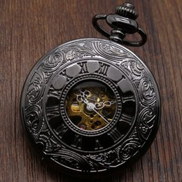 Wholesale Antique Leather Bags - Wholesale-Mechanical Steel Chain Pocket Watch Luxury Classic Watches with Gift bag Leather Strap Gift box and Necklace Chain P807WBWB