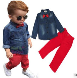 Wholesale Baby Girl Denim Blouse - Ins Fashion Denim Blouse Shirt Tops Red Pants 2 Piece Outfits Boys Outfits for Baby Boys Clothing Sets Kids Clothing Baby Clothes 3-8Y