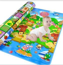 Wholesale Carpet Crawl - Authorized Authentic Maboshi Baby Play Mat Doulble-Site Fruit Letters And Happy Farm Kids Picnic Carpet Baby Crawling Mat
