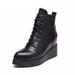 Botas confortáveis wedge tornozelo on-line-Botas de Couro de inverno 2017 Novos Sapatos de Couro Das Mulheres Do Falso Confortável Ankle Boots Botas De Cashmere Botas de Fundo Grosso Feminino tamanho 35-40