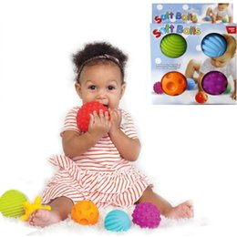 Wholesale Baby Grips - 4Pcs Set Baby Ball Toys Souding Colorful Multivariant Easy Grip Children Hand Caught Learning Grasping Children's Favor Gift