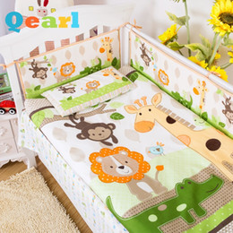 Wholesale Reactive Print Bedding - 7 PCS Cotton Crib Bedding Set Lovely Happy Jungle Character Baby Bedding Set Comfort Quilt Bed Bumpers Baby Pillow Crib Bedsheet