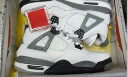 Wholesale Mens Glow Dark Shoes - Retro 4 IV White Cement mens Basketball Shoes 4s Sports Shoes Green Glows With Shoes Box