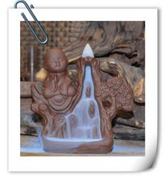 Wholesale Mountain Office - Purple Mountain incense censer ceramic creative back monk Buddha incense office decoration