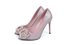 Wholesale Diamond Dancing Shoes - 2016 New style Sexy stilettos diamond rivets high heels maid of honor shoes Dance shoes Pearl diamond sexy female high-heeled shoes NN64