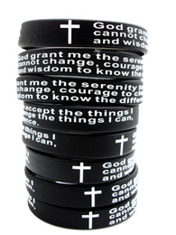 Wholesale Christian Jewelry Charms - 100pcs Inspirational English Serenity Prayer Silicone Bracelets Christian Men Cross Fashion Wristbands wholesale GOD SERENITY Jewelry Lots