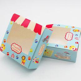 Argentina Venta al por mayor 30 unids Vintage Cookie Boxes embalaje de cartón para el regalo Candy Biscuit Packing pvc transparente caja de embalaje de regalo envío gratis Suministro
