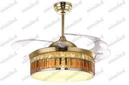 "Wholesale Modern Ceiling Fan Lighting Fixtures - nimi905 6-Styles 42"" Modern Crystal   Mosaics Chandelier Ceiling Fan Lamp Living Room Restaurant Bedroom Light Fixture LED Pendant Lights"