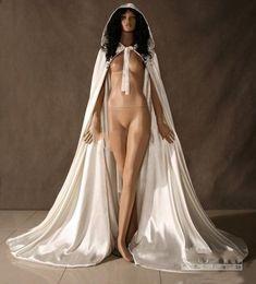 Wholesale Long Satin Hooded Cape Bridal - Hot Sale Cheap Hooded Bridal Cape Ivory White Long Wedding Cloaks With Satin Wedding Bridal Wraps Bridal Cloak