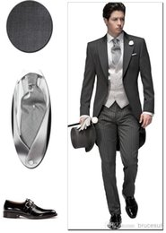 Wholesale Elegant Black Suits For Men - Tailored Elegant Bridegrom Gray morning suit Wedding tuxedo for men groomwear 5 pieces suits include(jacket+pants+tie+vest+flower+Pocketsqua