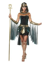 Wholesale Sexy Cleopatra Costumes - Wholesale-2016 Halloween Clothes Women Sleeveless Arab Queen Of Egypt Cleopatra Black Cosplay Costume Ladies Sexy Fancy Dress Clothes