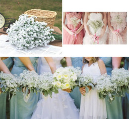 Wholesale Wedding Bouquet Flower Sets - Hanky Set 2016 New Silk Babys Breath Bridal Gypsophila Bouquet Wedding Flower Floral White Wedding Bouquet Bride Holding Flowers Bouquets