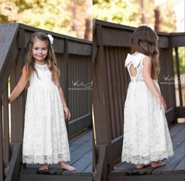 Wholesale Knot Dress 2t - 2016 Kids Dresses Jewel A Line Long Lace Flower Girls Dresses SleevelessBow Knot Zipper Ankle Length Girls Pageant Party Dresses