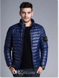 Wholesale Slim Thin Down Jacket - New 2017 Brand New Men Down jacket, spring autumn winter stone is land collar thin coats men brief paragraph big yards