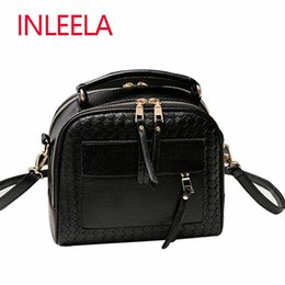 Wholesale Knit Cross Body Bags Black - Wholesale-INLEELA 2016 New Arrival Knitting Women Handbag Fashion Weave Shoulder Bag Small Casual Cross Body Bag Retro Tote