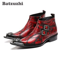 Wholesale Cowboy Footwear - Batzuzhi Italian Style POP Men Boots Personalized Leather Ankle Boots Men Genuine Leather Footwear Wine Red Pointed Toe, EU38-46
