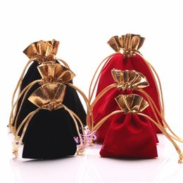 Wholesale Gold Bag Ring - Wholesale Black Velvet Jewelry Gift Bags 12*15cm High Quality Red Velvet Gold Trim Drawstring Pouches 7*9cm Jewelry Packaging Bags