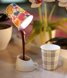 Wholesale Night Coffee - Novelty DIY Coffee Cup Shaped Led Light Table Lamp with 8 Led Night Light USB Battery Use Light