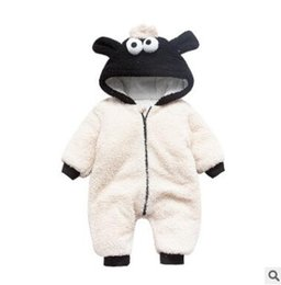 Wholesale Wholesale Organic Baby Rompers - Winter Thick Long Sleeve Baby Sheep Romper Outfit Unisex Bebe Boy Girl Hooded Outerwear Jumpsuits Rompers Suit Baby Infant Toddler Clothing