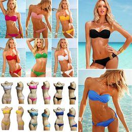 Wholesale Secret Beach Swimsuit - PrettyBaby Newest Summer Sexy Bikini Women Swimwear Fashion Occidental Secret Beach Swimsuit 10 Colors solid color bikini strapless