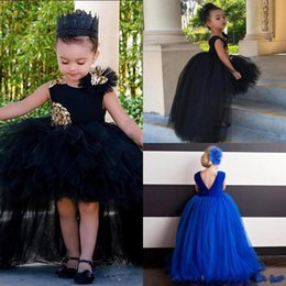 Wholesale Toddler Girls Fluffy Skirts - cute black hi-lo Flower Girls Dresses for toddler with Sequin Appliques Fluffy Skirts First Communion Gowns Custom Made Ball Gown Girls Pa