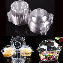 Wholesale Single Plastic Cupcake Holders - 100 PCS Set Plastic Single Cupcake Muffin Holders Cake Cases Boxe Cups Pods Party Cupcake Holders Boxes Pods