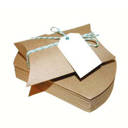 Wholesale Candy Shaped Pillows - Wholesale- Kraft Pillow Shape 10PCS 1Pack Wedding Party Gift Boxes New Style Wedding Favor Gift Box Party Candy Box