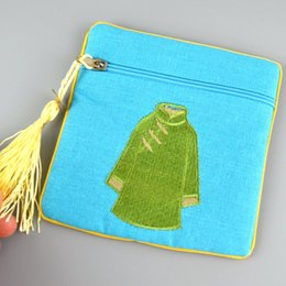 Wholesale Vintage Chinese Embroidery - Square Tassel Small Cotton Linen Zipper Bags for Jewelry Storage Chinese style Embroidery clothes Coin Purse Vintage Packaging Pouch