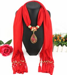 Wholesale china peacock - Direct Factory Newest Fashion Alloy Rhinestones Pendant Scarf Bird Peacock Colored Scarves Necklace From China Factory