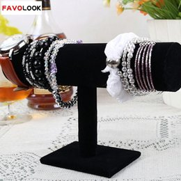 Wholesale Black Velvet Bracelet Holder - Wholesale-23cm 9.1in Black Velvet Bracelet Chain Watch T-Bar Rack Jewelry Hard Display Stand Holder Jewelry Organizer Hard Display Stand