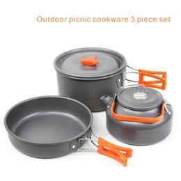 Batterie de cuisine pour pique-nique en plein air Set de 3 poêles Poêle à frire 7 pouces Le pot de 2,0L Kettle0.8L. ? partir de fabricateur