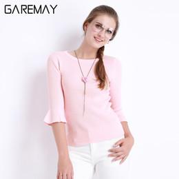 Wholesale Blusas Moda - Blouses Summer Pink Top Slim Knitted Butterfly Sleeve Blusas Mujer O Neck Clothing For Women Half Sleeve Moda Feminina GAREMAY