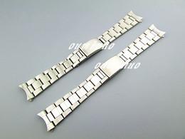 Solide uhrenbänder online-17mm oder 20mm NEU Pure Solid 316L Gebogene Ende Edelstahl Silber Gebürstet Fertige Uhrenarmbänder Armbänder für Rolex Watch