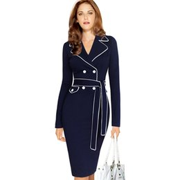 Wholesale Office Wear Long Sleeves Dress - Women Autumn Winter Elegant Lapel Notched Collar Belted Button Contrast Wear to Work Business Office Sheath Fitted Dress S-4XL DK2231CG
