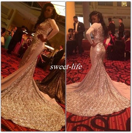 Wholesale Sexy Dressess - Gold Sequins Prom Dresses Mermaid Style Long Sleeve 2016 Keyhole Neck Saudi Arabic Party Gowns Modest Special Occasion Dressess Evening Wear