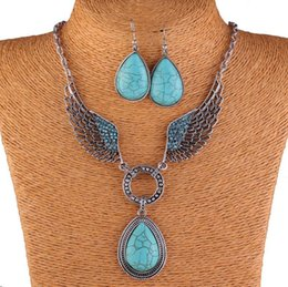 Wholesale Teardrop Necklace Earring Set - Vintage Womens Charms Antique Silver Crystal Wing Turquoise Teardrop Pendant Chain Necklace+Earrings Jewelry Set